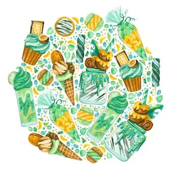 Cornice rotonda con dolci ad acquerello ghirlanda di pasticceria
