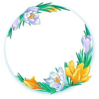 Cornice rotonda con crochi primaverili bianchi e arancioni. modello floreale per testo o foto.