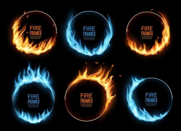 Cornici rotonde con fiamme di fuoco e gas, bordi ardenti con lingue di fuoco blu e arancioni