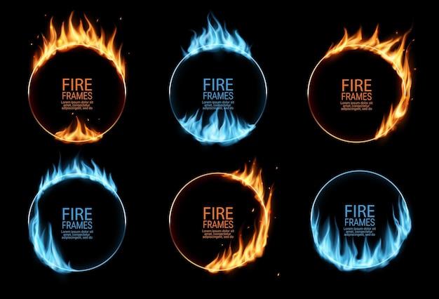 Cornici rotonde con fuoco, fiamme a gas o anelli circolari