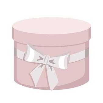 Scatole regalo rotonde con fiocco. imballaggio con coperchio. regalo per compleanno, festa della mamma, san valentino. illustrazione piatta vettoriale