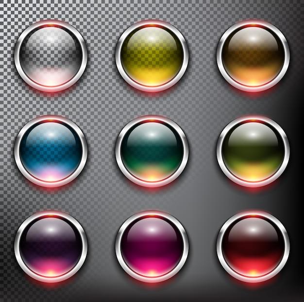 Bottoni rotondi in vetro con telaio metallico. isolato sullo sfondo bianco.