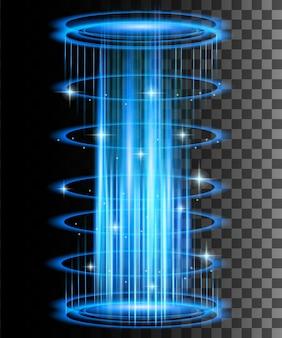 Raggi bagliore rotondi con scintille portale magico di fantasia teletrasporto futuristico