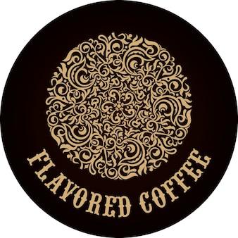 Emblema rotondo dorato del caffè