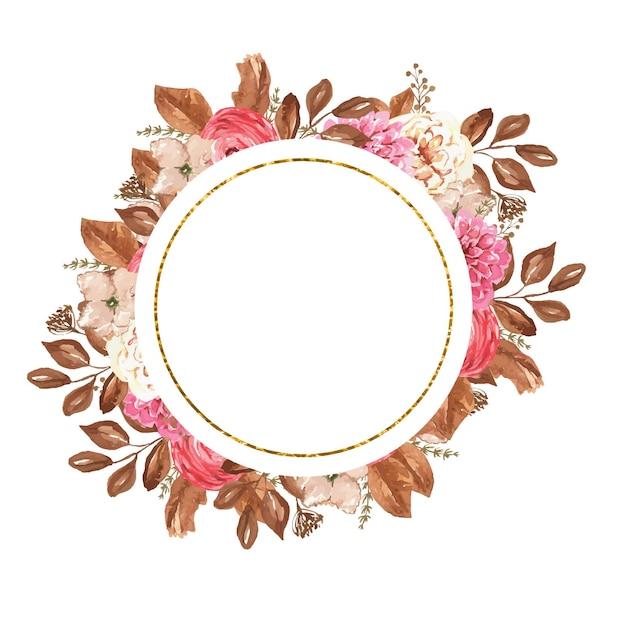 Cornice rotonda dorata con fiori ad acquerello autunnali