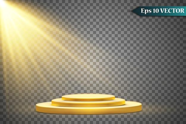 Podio rotondo dorato, piedistallo o piattaforma illuminata da faretti su sfondo bianco. piattaforma per il design. podio vuoto 3d realistico. palco con luci scenografiche.