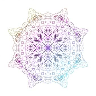Mandala gradiente rotondo isolato. vector boho mandala mandala con disegno floreale
