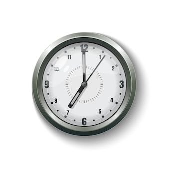 Orologio da parete rotondo grigio per casa e ufficio. illustrazione isolati su sfondo bianco