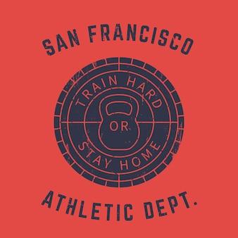 Logo rotondo della palestra, stampa t-shirt, segno grunge con kettlebell su rosso