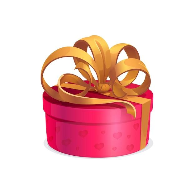 Regalo di festa rotondo con fiocco dorato, scatola rosa vettoriale, regalo avvolto con sontuoso nastro. confezione regalo cartone animato isolato per l'evento festivo natale, san valentino, compleanno o festa di capodanno