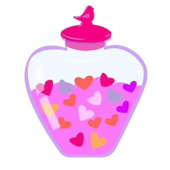 Barattolo rotondo con coperchio con cuori bottiglia con cuori illustrazione romantica per san valentino