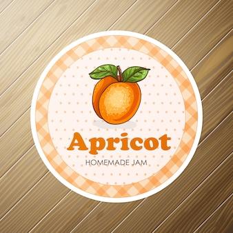 Etichetta rotonda con albicocca dolce e sana