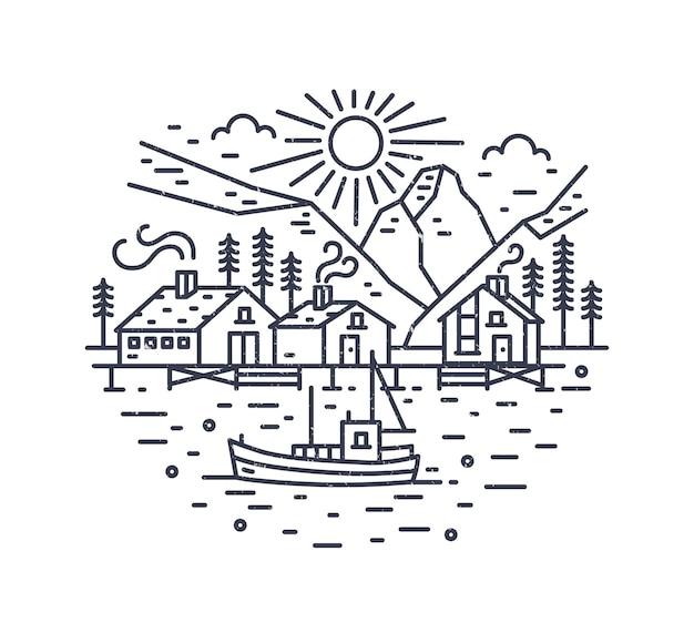 Paesaggio rotondo con nave che naviga in mare, case, alberi e montagne disegnate con linee di contorno