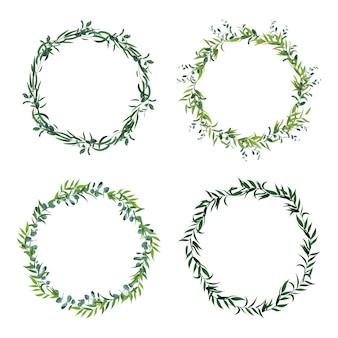 Bordi a foglia rotonda. corona di foglie verdi cerchio, cornici floreali, invito cerchio decorativo. set di icone di decorazioni floreali. struttura verde della foglia, illustrazione della pianta della corona del confine