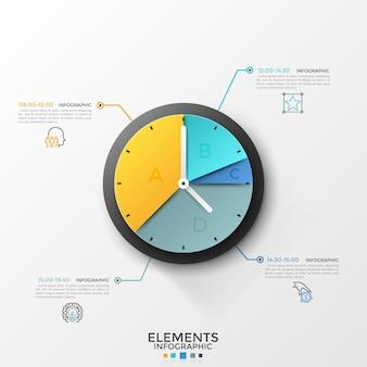 Grafico a torta rotondo o quadrante dell'orologio diviso in 4 settori collegati da linee a simboli lineari e indicazione dell'ora. orario o visualizzazione dell'orario. modello di progettazione infografica. illustrazione vettoriale.