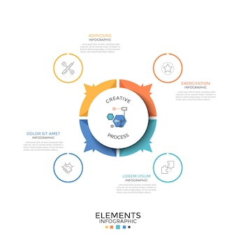 Grafico a torta rotondo diviso in 4 parti o settori colorati uguali con frecce che puntano a simboli di linee sottili e caselle di testo. modello di progettazione infografica creativa. illustrazione di vettore per la presentazione.