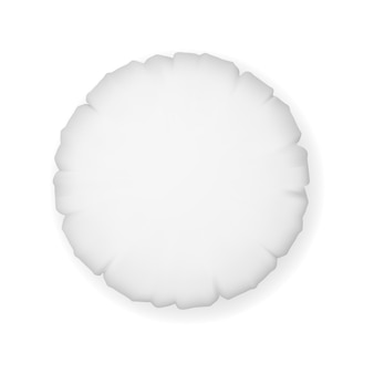Modello di cuscino rotondo isolato su sfondo bianco