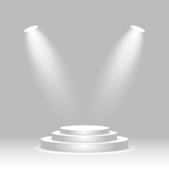 Podio rotondo illuminato da due faretti piedistallo vuoto della cerimonia di premiazione della fase del vincitore