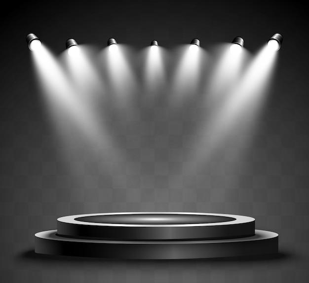 Podio rotondo, piedistallo o piattaforma, illuminato da faretti sullo sfondo. luce luminosa. luce dall'alto. luogo pubblicitario