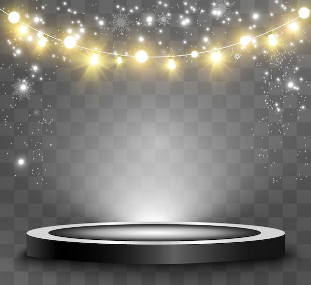 Podio rotondo, piedistallo o piattaforma, illuminato da faretti sullo sfondo. illustrazione. luce luminosa. luce dall'alto. luogo di pubblicità