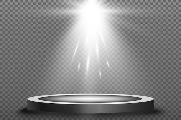 Podio rotondo, piedistallo o piattaforma, illuminato da faretti. luce luminosa. luce dall'alto.