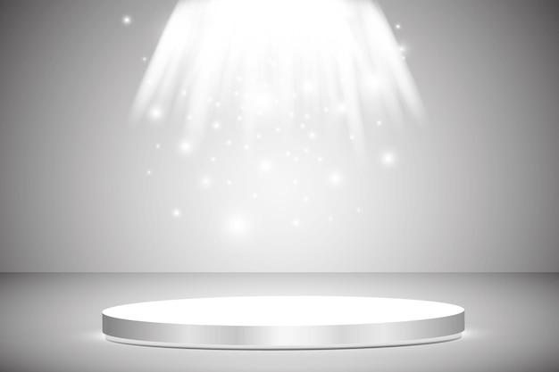 Podio rotondo, piedistallo o piattaforma illuminata da faretti su sfondo grigio. palco con luci scenografiche. .