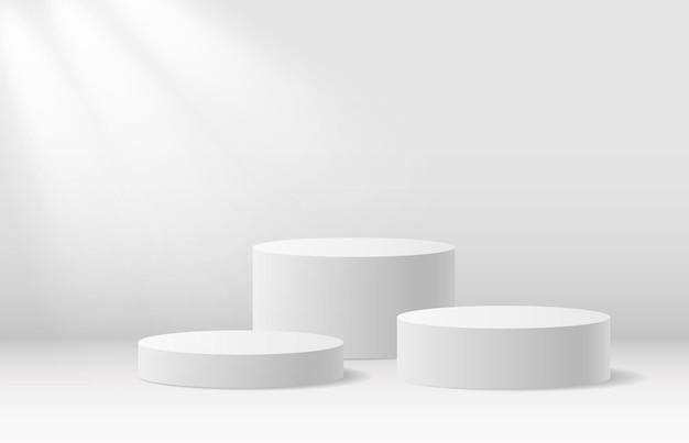 I prodotti 3d del supporto rotondo del podio mostrano una scena minima realistica del mockup con il piedistallo del vincitore della piattaforma