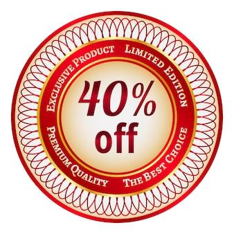 Adesivo o etichetta rotondo rosso e oro con uno sconto del 40%