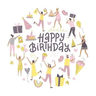Forma rotonda con un gruppo di migliori amici felici che festeggiano il compleanno con scritte a mano