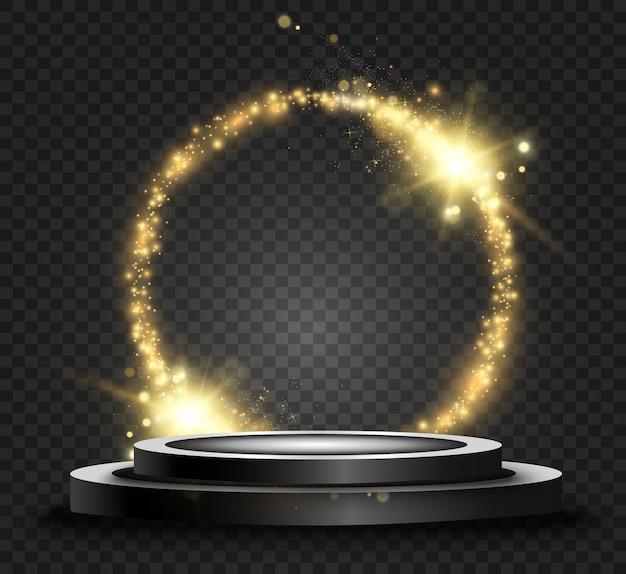 Bella luce lucida rotonda. cerchio magico. cornice rotonda dorata lucida con lampi di luce e podio nero