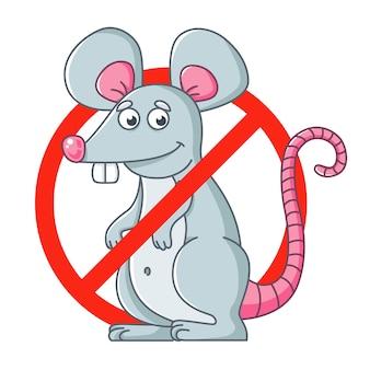 Segno rotondo di sbarazzarsi di roditori. distruggere i topi.