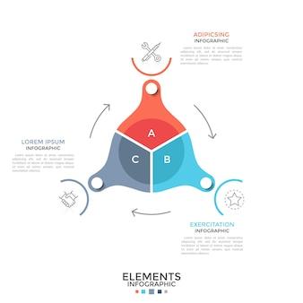 Grafico a ruota dentata rotante diviso in 3 settori colorati collegati da frecce, pittogrammi a linee sottili e caselle di testo. modello di progettazione infografica piatta. illustrazione di vettore per la presentazione.