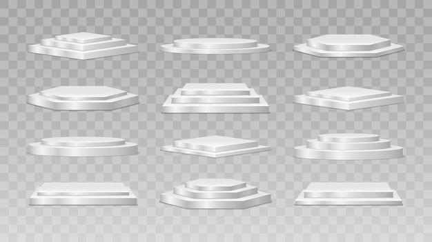 Fase vuota rotonda e quadrata e scale del podio