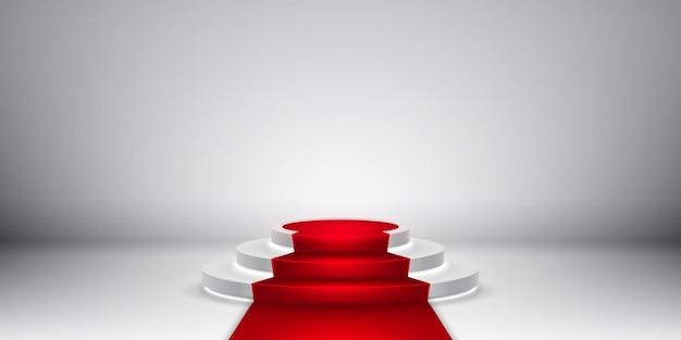 Podio della fase rotonda. scena festosa del podio con tappeto rosso per la cerimonia di premiazione.