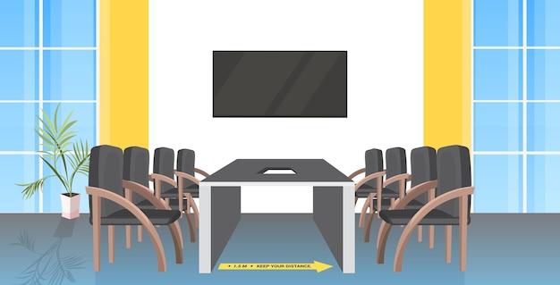Tavola rotonda sala riunioni con cartelli per allontanamento sociale adesivi gialli epidemia di coronavirus