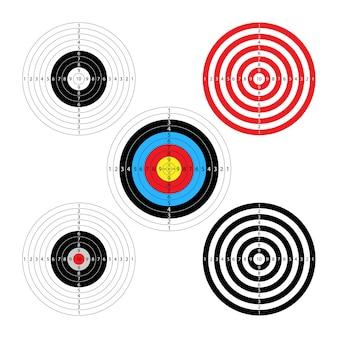 Bersaglio rotondo per fucili ad aria compressa disegno vettoriale 5 tipi