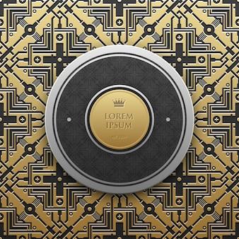 Modello di testo bandiera rotonda su sfondo metallico dorato con motivo geometrico senza soluzione di continuità. elegante stile di lusso.