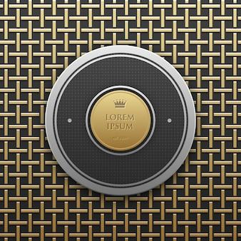 Modello rotondo della bandiera di testo su fondo metallico dorato con il modello geometrico senza cuciture. stile di lusso elegante