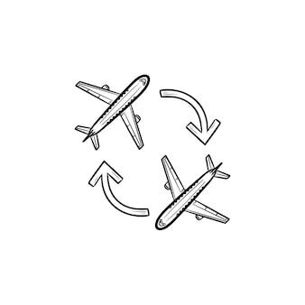 Aerei di andata e ritorno e frecce icona di doodle di contorni disegnati a mano. viaggio in aereo, viaggi e compagnie aeree, concetto di turismo