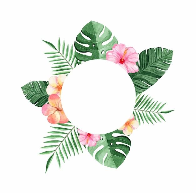 Cornice tropicale rotonda con foglie di palma verde