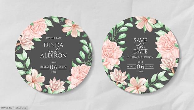 Biglietto d'invito matrimonio rotondo con cornice floreale ad acquerello
