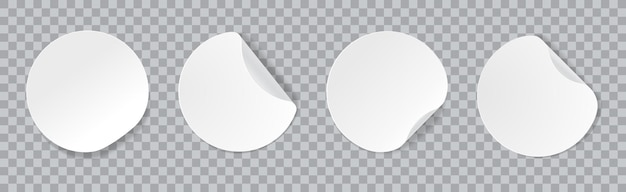 Adesivi adesivi rotondi bianchi con bordi arricciati vettore mockup