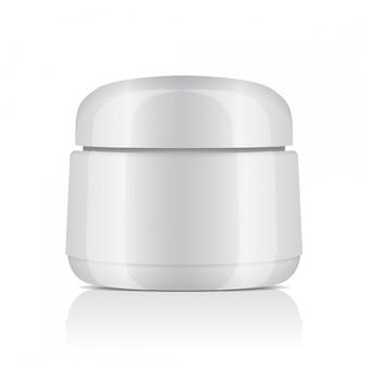 Vaso rotondo in plastica bianca con coperchio per cosmetici. balsamo, crema, gel, unguento. modello