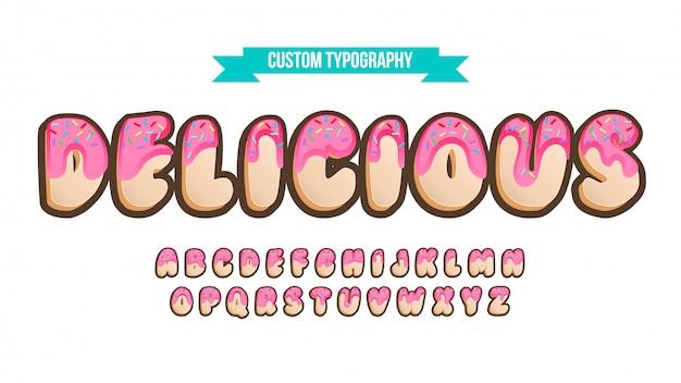 Tipografia cartoonish superiore arrotondata della ciambella 3d Vettore Premium