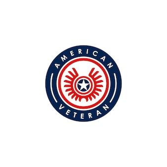 Design del logo dell'emblema del veterano americano arrotondato