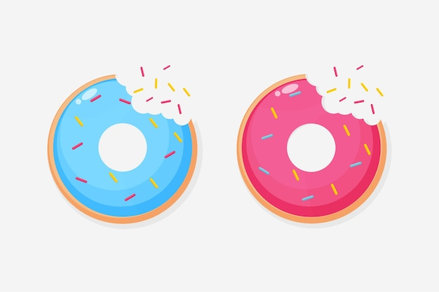 Icona di dolci arrotondati con morso in bocca
