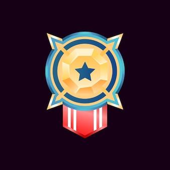 Medaglie arrotondate del distintivo del rango del diamante dorato lucido dell'interfaccia utente del gioco con il nastro della bandiera