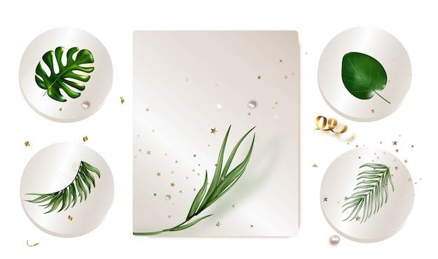 Icone arrotondate con foglie tropicali realistiche