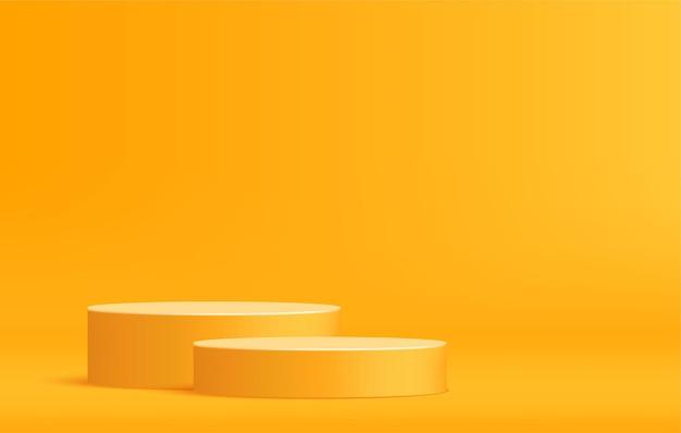 Podio arrotondato per la visualizzazione del prodotto su una scena minima modello di palcoscenico con piedistallo giallo
