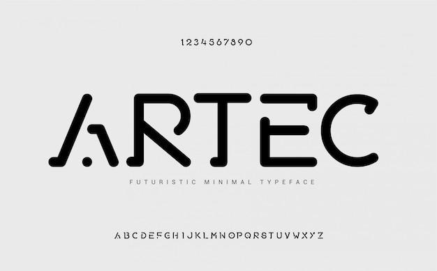 Stencil arrotondato moderna, alfabeto, minimalista futuristico, tipografia. musica dance elettronica, font poster, colori di tendenza.